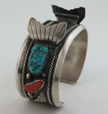 Heavy 82 Gram Old Pawn Sterling Silver Turquoise & Coral Watch Cuff Bracelet