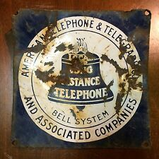 Vintage American Telephone & Telegraph Porcelain Sign Bell System Salvaged RARE!
