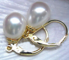 HOT A PAIR AAAA 10-12mm AUSTRALIAN SOUTH SEA white PEARL EARRING 14K GOLD