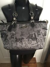 COACH Gallery Horse & Carriage 16563 Handbag Shoulder Purse Tote Bag Black Gray