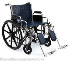 """Medline Excel Extra Wide Bariatric Wheelchair With 500 LB Capacity 24"""" Wide Seat"""