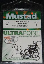 25 Mustad 39951BLN Ultra Point Size 6 Circle Hooks 1X Fine Wire Black Nickel