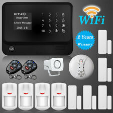 "Upgrade 2.4"" LCD WiFi GSM GPRS Home House Intruder Burglar Smoke Alarm System"