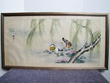 Antique Chinese hand painted water color. mandarin ducks playing in water 鴛鴦戲水