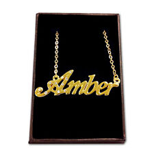 Gold Plated Name Necklace - AMBER - Gift Ideas For Her - Bridal Birthday Love
