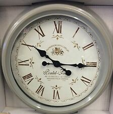 LARGE Distressed Grey Gold Metal French Station Clock NEW Shabby Chic Kitchen