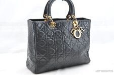 Authentic Christian Dior Lady Dior Lamb skin Hand Bag Black 24612