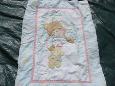 Vintage TEDDY BEDDY BEAR Baby Crib Comforter Quilt Blanket by Morgan Inc ~ RARE