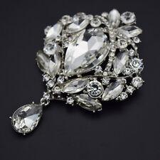 Magic Silver Big Clear Austrian Crystal Brooch Bag Pins Bridal Jewerly br1053