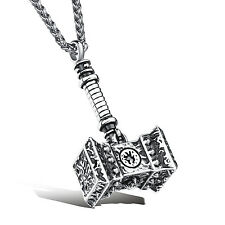 New Arrive Mens Jewelry Pure Stainless Steel Thor's Hammer Pendant Necklace 24''