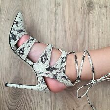 Snake Print Lace Up Heels- Size 6