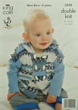 KNITTING PATTERN Baby Sleeveless Double Breasted Hoodie DK King Cole 3558