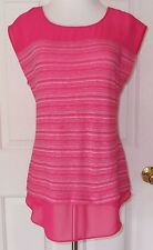 New Ann Taylor Coral Stripe Womens Summer Top Sheer Shoulder Size Small NWT