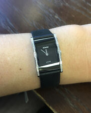 NWOT Ladies Rado Integral Jubile´ R20759155 Black Dial Leather Diamond Watch