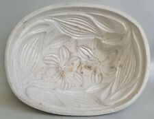 ANTIQUE IRONSTONE / EARTHENWARE FOOD MOLD - PUDDING / ASPIC- EASTER LILLIES