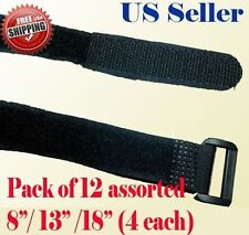 "12 Assorted 8"" 13"" 18"" Velcro Fastener Cable Tie Down Strap Reusable Hook & Loop"