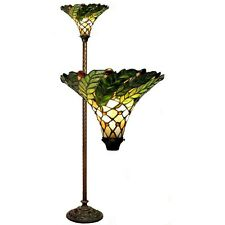 Tiffany Style Green Leaf Stained Glass Torchiere Torch Floor Lamp  3742#+BB75B