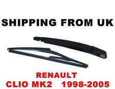 REAR WINDSCREEN WINDSHIELD WINDOW ARM BLADE WIPER KIT SET RENAULT CLIO MK2 II 2
