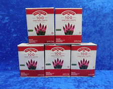 LOT of 5 Boxes Holiday Time 100 Pink Mini Lights Green Wire Christmas