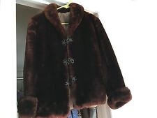Vintage  Brown  Mouton  Shearling Short  Womens Coat Jacket  Frog  Buttons  Line