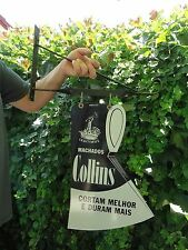 COLLINS PORCELAIN AXE SIGN 1900-1930'S WITH HANGING BRACKET-DOUBLE SIDED SIGN