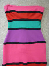 River island multicoloured striped bodycon, short sleeveless dress. Size 10