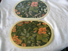 Floral Design Oval Plastic Placemats Green Made in England Nova Garden Furniture