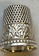 Vintage Decorative Sterling Silver Thimble 9/16 Inch Diameter 3/4 Inch Tall