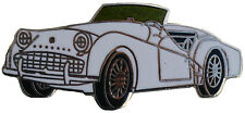 Triumph TR3A/B car cut out lapel pin - White