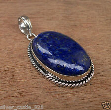 Blue Lapis Lazuli Natural Gemstone 925 Silver Plated Jewelry Pendant