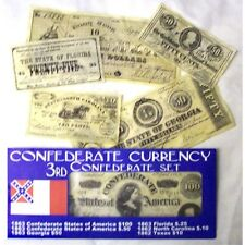 CIVIL WAR 3rd CONFEDERATE CURRENCY BATTLE SET REPO $100.50.10.AND .25 .50 Cents