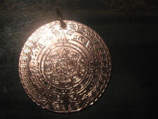 NEW 40MM COPPER AZTEC MAYAN SUN CALENDAR MEXICO PENDANT CHARM NECKLACE
