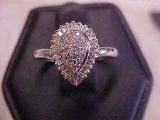 *VINTAGE*ROUND & BAGUETTE CUT DIAMOND COCKTAIL RING 10K WHITE GOLD sz5 NO RESERV