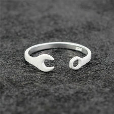 Womens Plain Matte 925 Silver Mechanic Wrench Tool Opening Thin Band Pinkie Ring