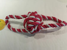LARGE -Pink & White Knotted Rope + Ball Chew Toy- Great for dogs & puppies -36cm