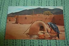 Vintage Postcard Indian Woman Baking Bread At Taos Pueblo, New Mexico