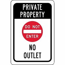 "Private Property No Outlet Sign Do Not Enter Symbol Aluminum Metal 8"" x 12"" Sign"