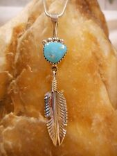 Necklace Native American Sterling Silver Turquoise Feather By Navajo H  Spencer
