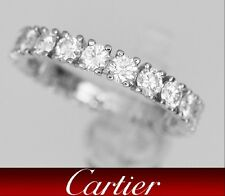 Cartier Platinum Brilliant Cut Diamond Wedding Eternity Band Ring 1.45 CT Sz 5