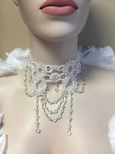 White Victorian Glass Beaded Choker Necklace Burlesque Belly Dance Costume