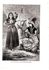 GRAVURE SUR BOIS 19ème FEMMES A TYR PUITS DE HIRAM