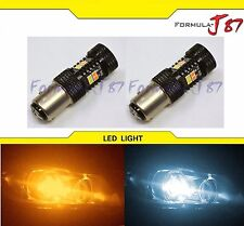 SMD LED Switchback Amber Orange White 6000K 16W 1157 S25 Two Bulbs Dual Color
