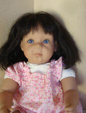 "Pat Secrist Vinyl & Cloth Pouty Baby Girl Doll Blue Eyes Black Hair 21"" large"