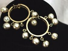 Vintage White 10mm Faux Fresh Water Pearl Gold Tone Clip-on Earrings Round Large