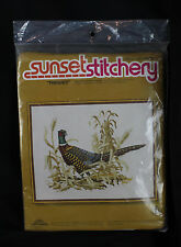 Vintage New Sunset Stitchery Embroidery Kit Pheasant Bird Nature 16 x 20 Sealed