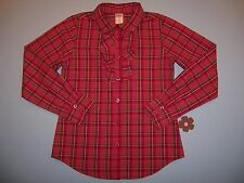 "Gymboree girls ""FALL HOMECOMING"" sz 12 TOP BOUSE...CRANBERRY PLAID"