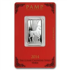 PAMP Suisse Lunar Year of the Horse 2014 10 g gram .999 Silver Bar (in Assay)