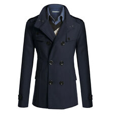Men Formal Trench Coat Double Breasted Peacoat Overcoat Long Wool Jacket Outwear