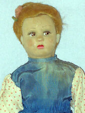 "VINTAGE/ANTIQUE 10"" (27cm) STRAW FILLED FABRIC COVERED DOLL IN ORIGINAL CLOTHES"