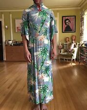 Vintage 1940s Waikiki Sports Rayon Pake Muu Hawaiian Dress Palm Trees Outriggers